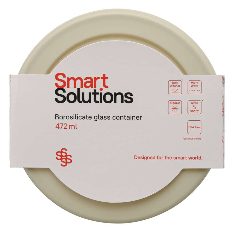 Контейнер для еды стеклянный 472 мл светло-бежевый SMART SOLUTIONS JV472RD