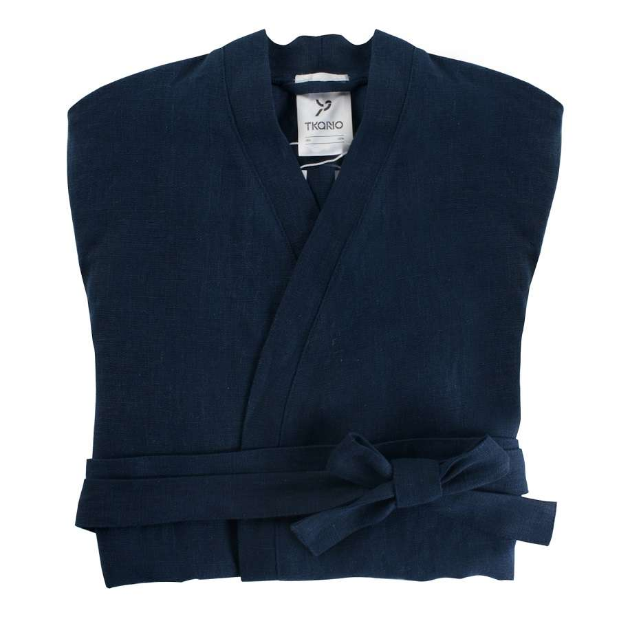 Халат из умягченного льна темно-синего цвета S TKANO TK18-BR0005