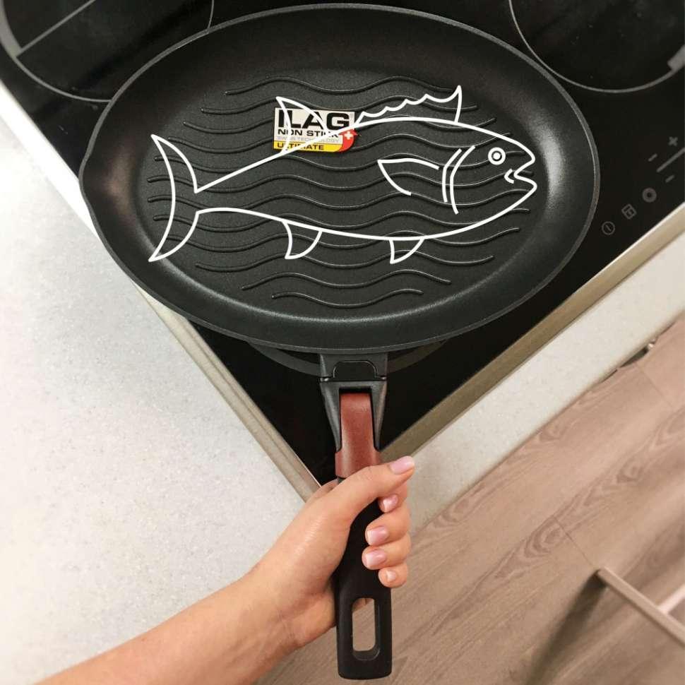 Сковорода-гриль овальная для рыбы с антипригарным покрытием и съёмной ручкой Vilma, 34x23 см, NADOBA 728223