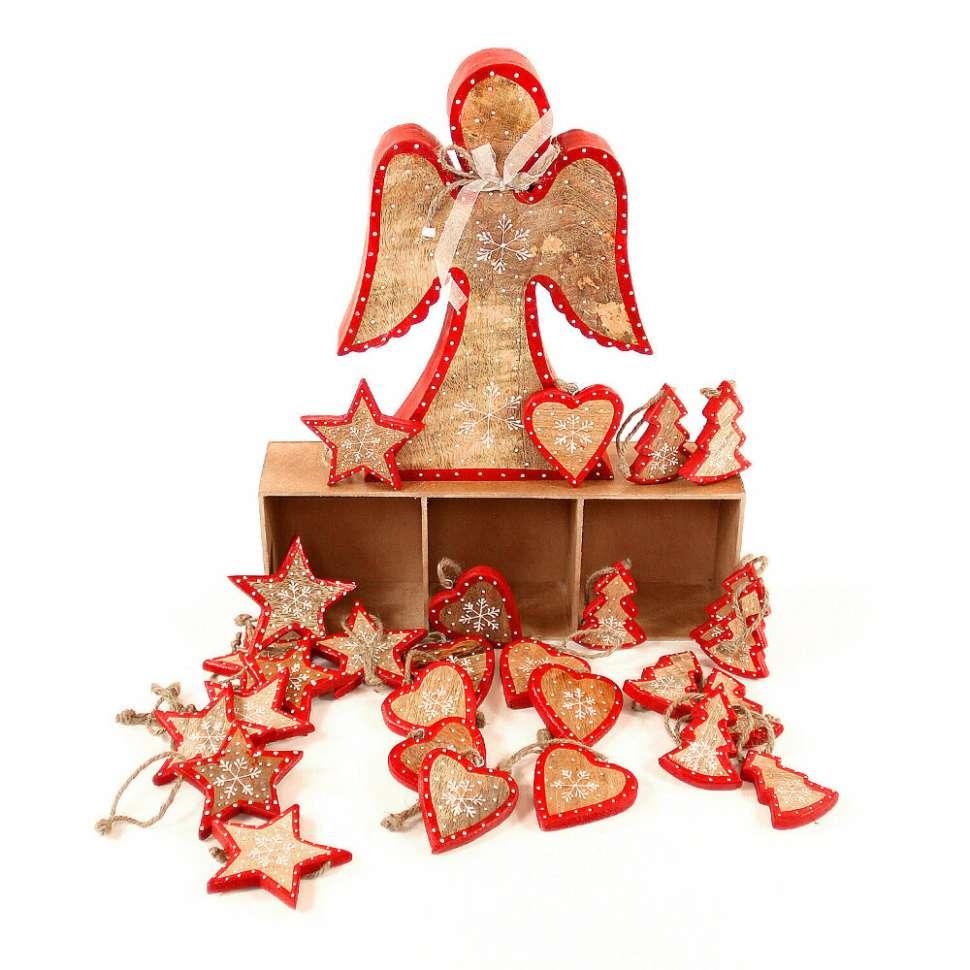 Украшения подвесные Stars/Trees/Hearts, деревянные, в подарочной коробке, 30 шт. ENJOYME  en_ny0008