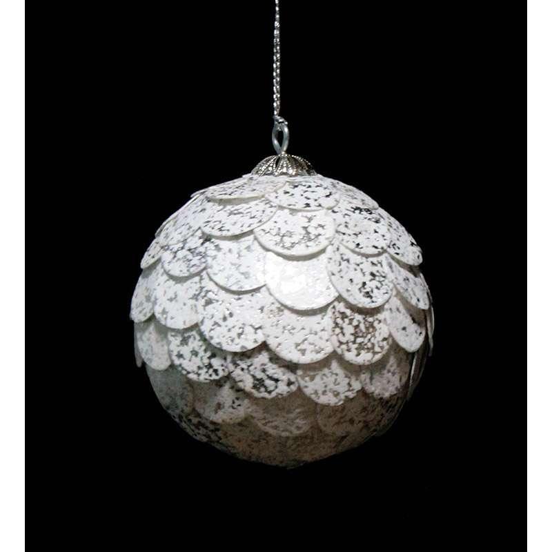 Шар новогодний декоративный Paper ball, серебристый мрамор ENJOYME  en_ny0072
