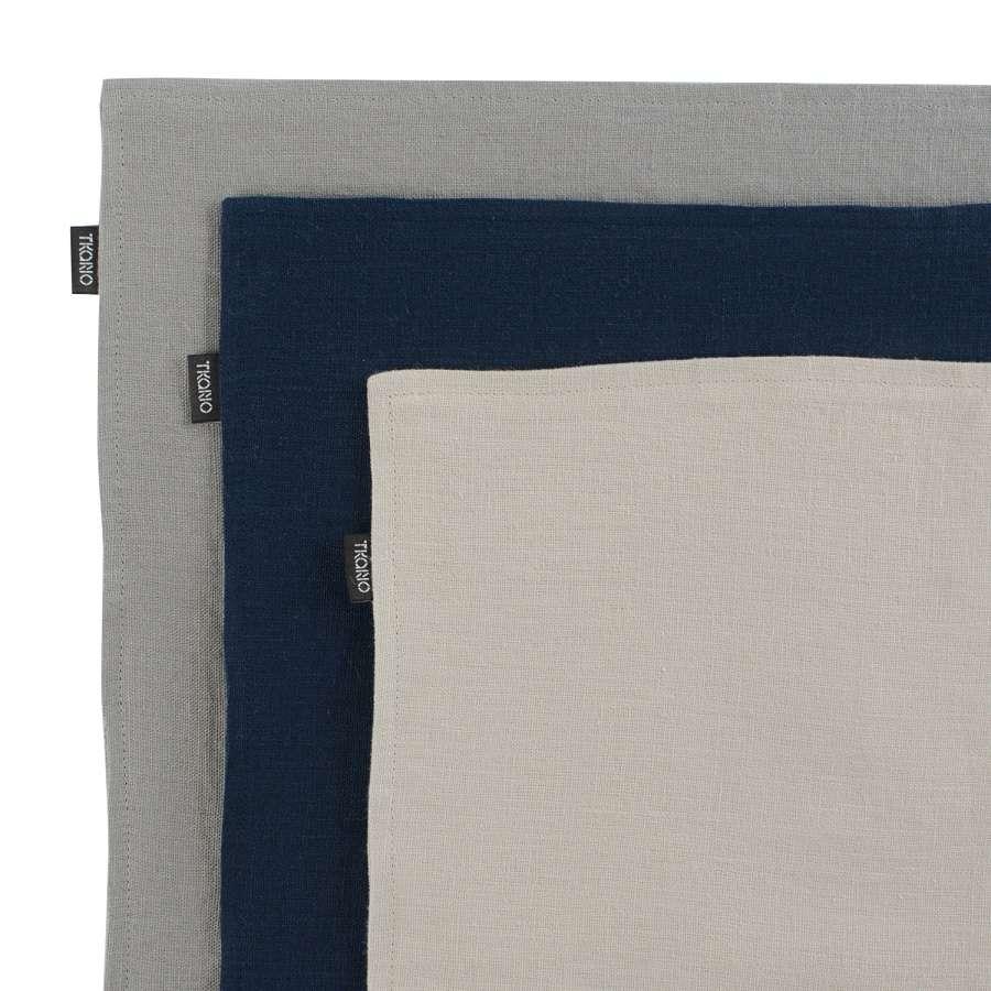 Двухсторонняя салфетка под приборы из умягченного льна темно-синего цвета TKANO TK18-PM0009