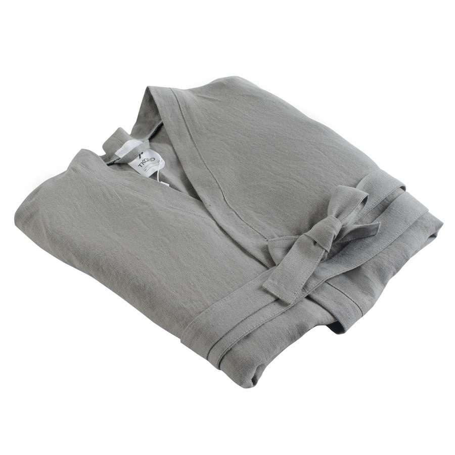 Халат из умягченного льна серого цвета М TKANO TK18-BR0004
