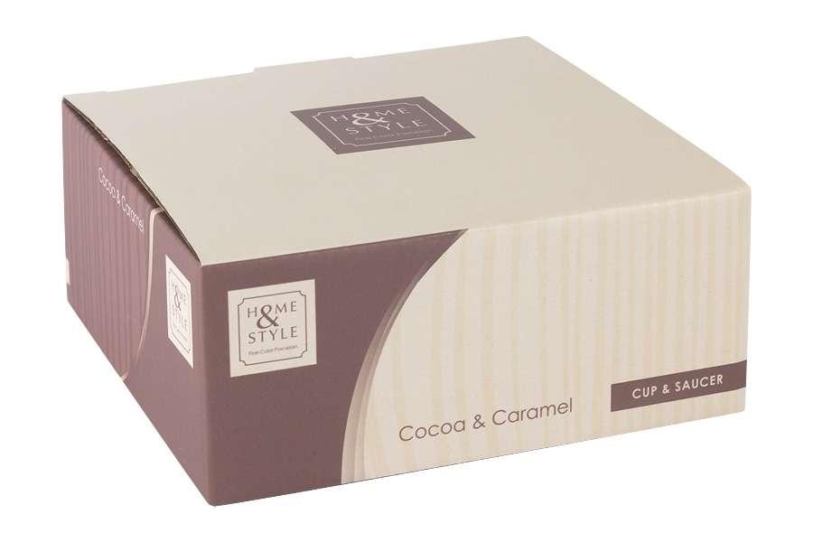 Чашка с блюдцем (какао) в подарочной упаковке Cocoa & Caramel HOME & STYLE HS4-G099-4G2S