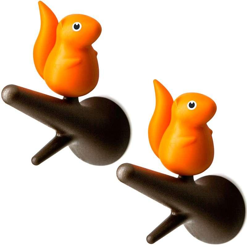 Вешалки настенные Squirrel 2 шт. коричневые-оранжевые QUALY QL10088-BN-OR