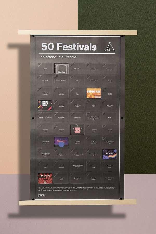 Постер «50 фестивалей, которые нужно посетить в жизни» DOIY DYPOSTFEE