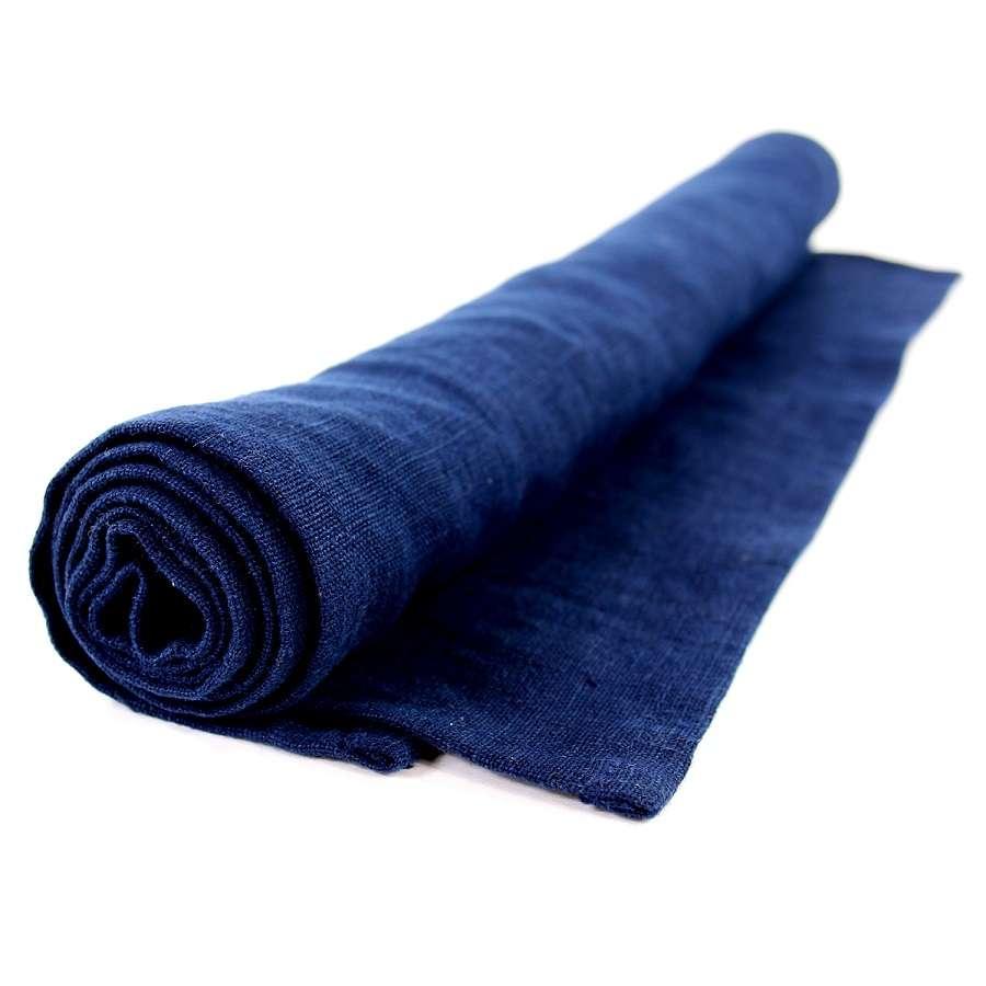 Дорожка на стол из умягченного льна темно-синего цвета TKANO TK18-TR0009