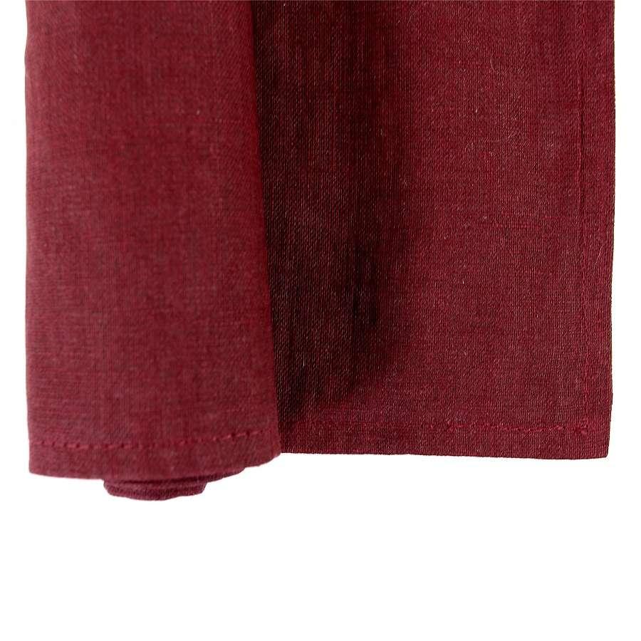 Двухсторонняя салфетка под приборы из умягченного льна с декоративной обработкой бордового цвета TKANO TK18-PM0010