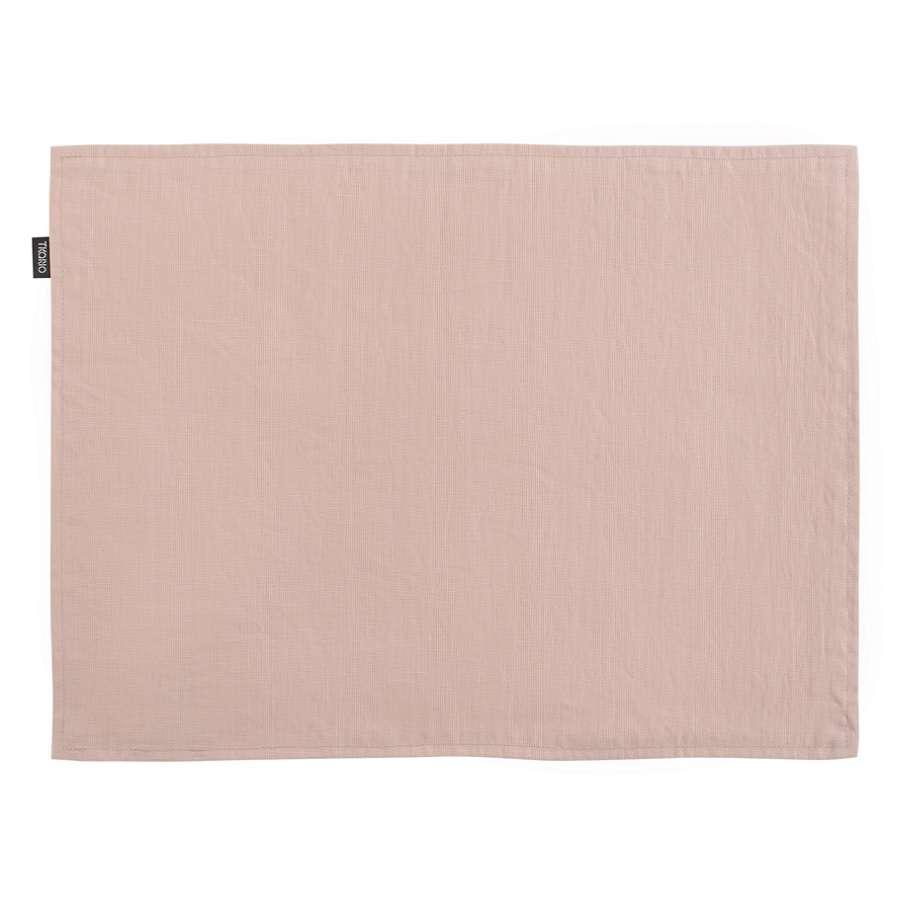 Двухсторонняя салфетка под приборы из умягченного льна с декоративной обработкой цвета пыльной розы TKANO TK18-PM0012