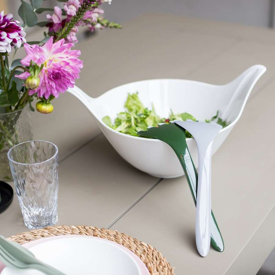 Салатница с приборами LEAF 2.0, 4 л, бело-зелёная KOZIOL 3693345