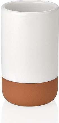 Стакан для зубных щеток Ceramic White and Brown ANDREA HOUSE BA65133