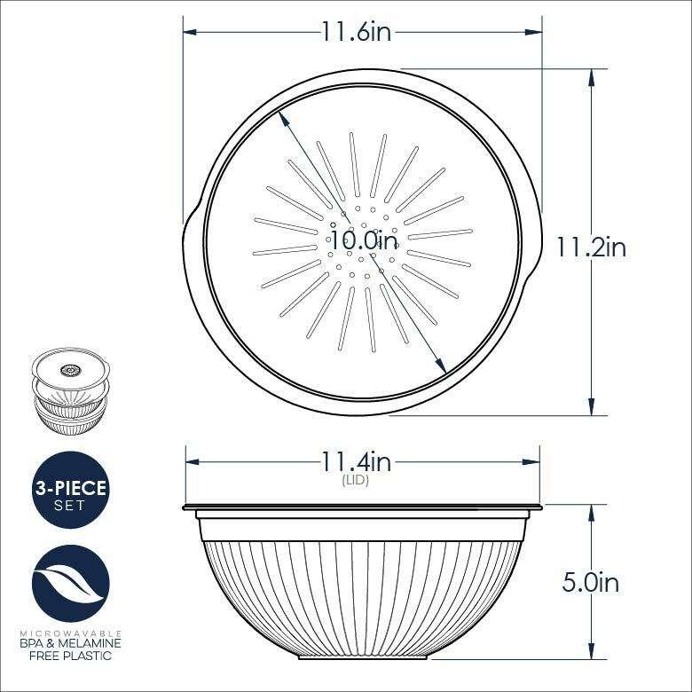 Набор: дуршлаг, чаша, крышка Nordic Ware (3,8л; 4,7л), пластик NRD69700