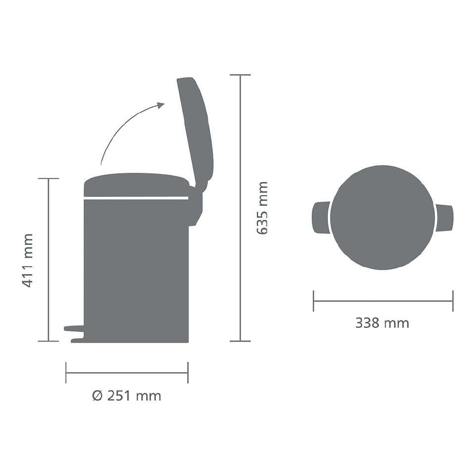Мусорный бак с педалью newIcon (12 л), стальной матовый (FPP) BRABANTIA 112041