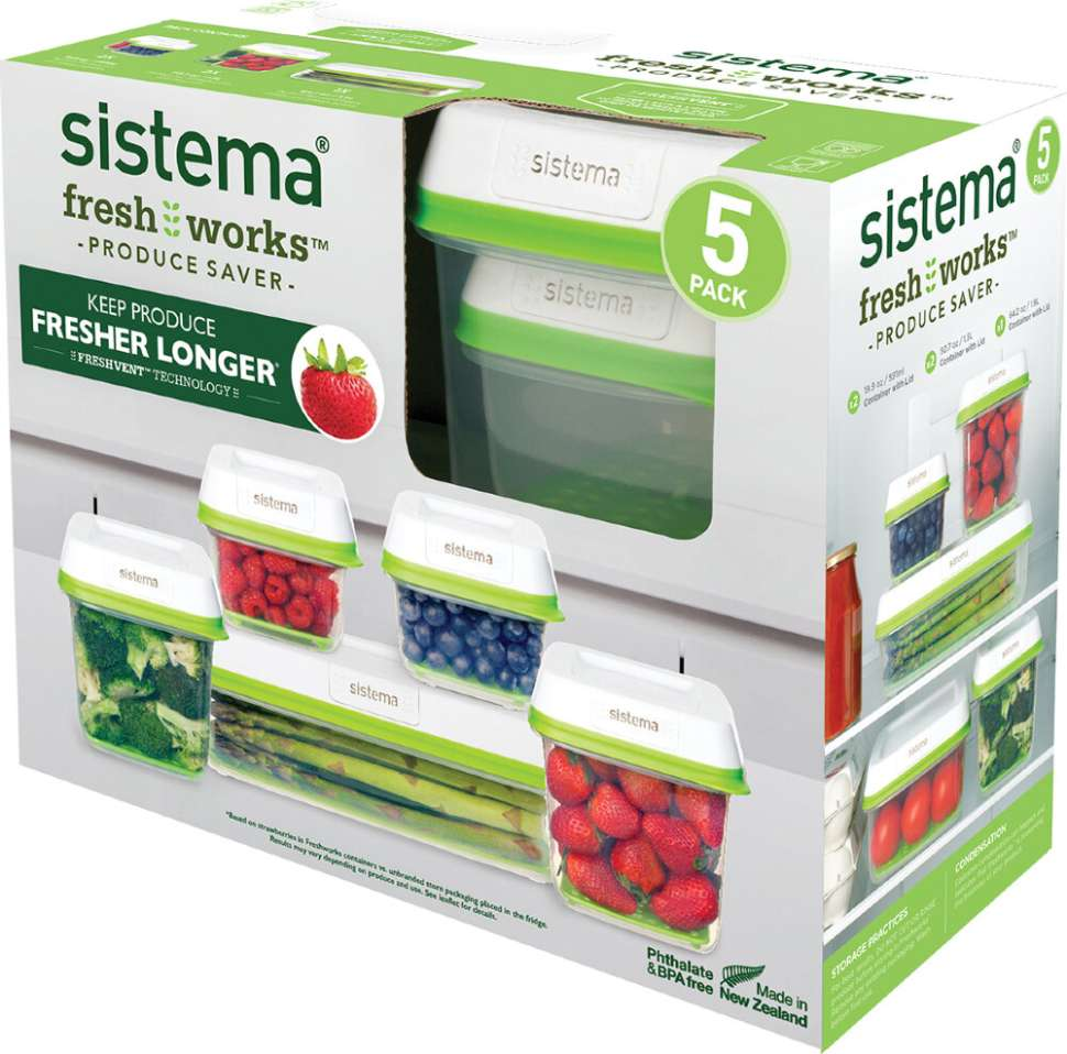 Набор контейнеров (5шт) SISTEMA FRESHWORKS 53155