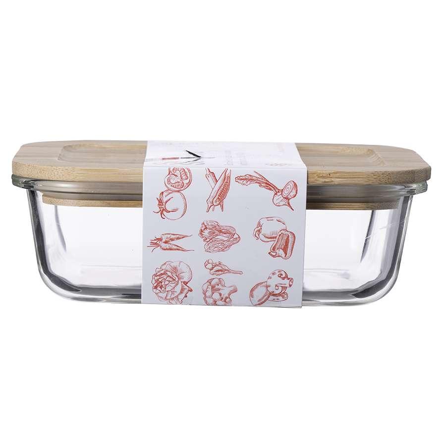 Контейнер для еды стеклянный 640 мл с крышкой из бамбука SMART SOLUTIONS LB640RC