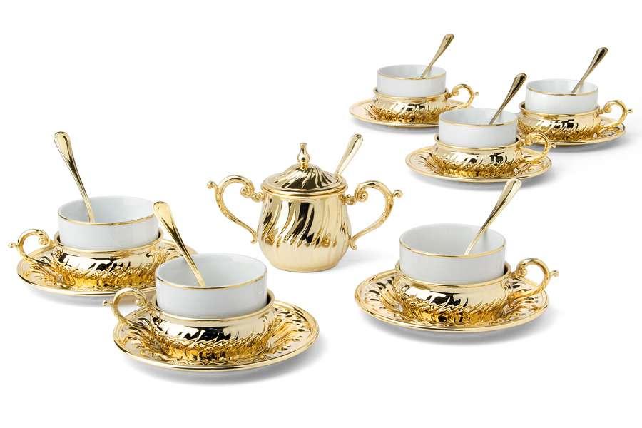 Чайный набор на 6 персон Stradivari с отделкой под золото в подарочной коробке CHINELLI GA6207500AL