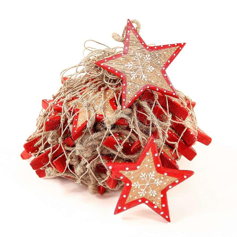Украшения подвесные Christmas Stars, деревянные, в сетке, 30 шт. ENJOYME  en_ny0005