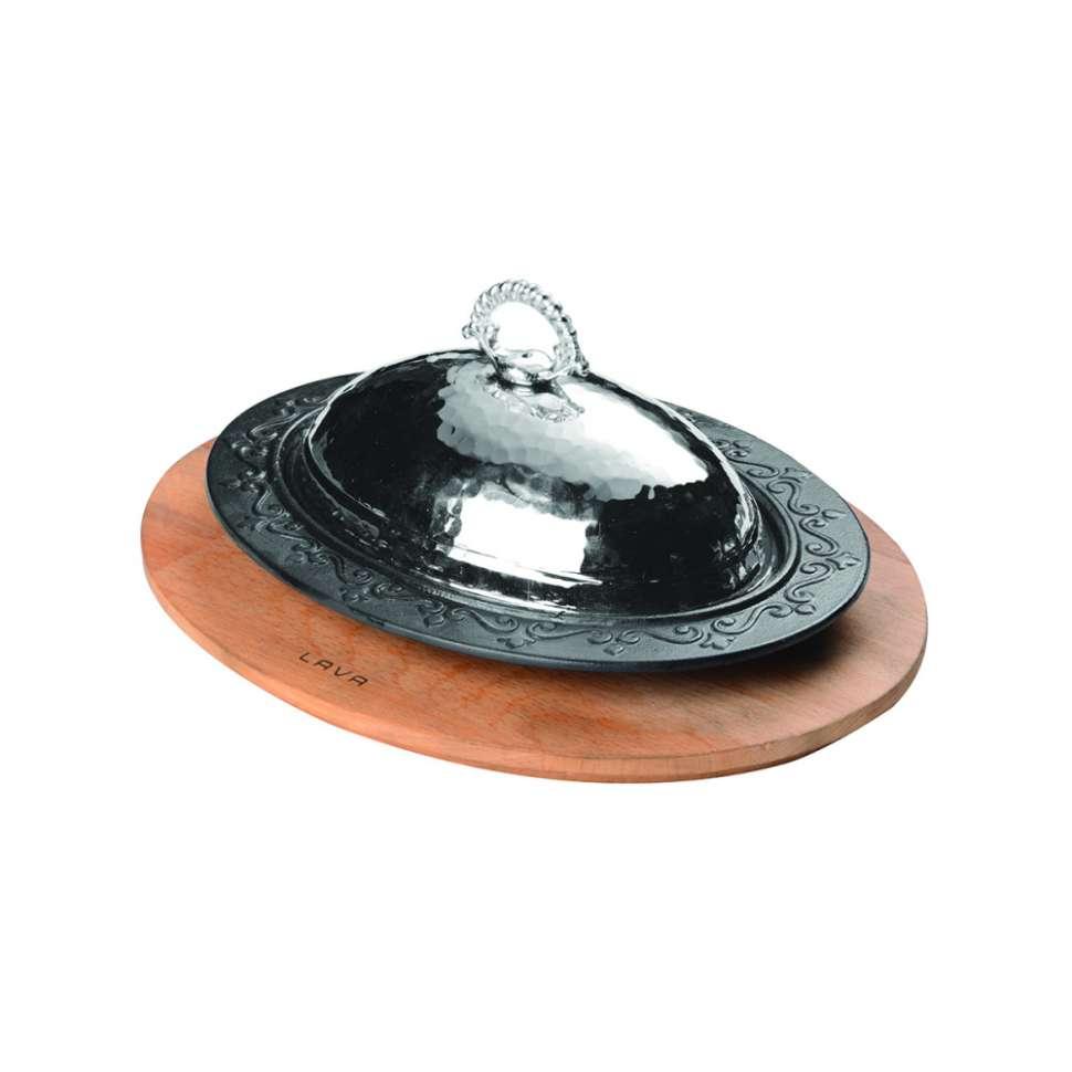 Литая порционная чугунная сковорода ECO 28х20см с медной крышкой + подставка из н/дерева LAVA LVECOODNR2820K4K8