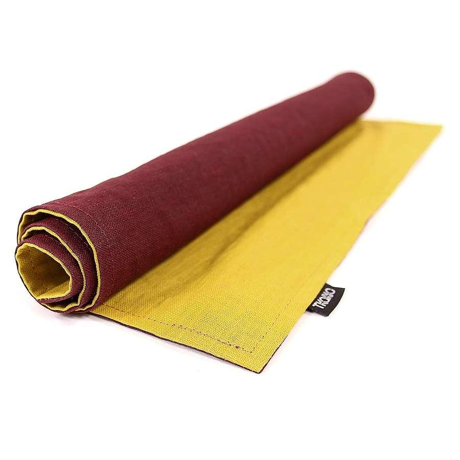 Двухсторонняя, льняная салфетка под приборы с декоративной обработкой. Цвет бордовый/горчица TKANO TK18-PM0015