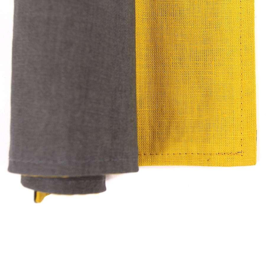 Двухсторонняя салфетка под приборы из умягченного льна с декоративной обработкой. Цвета темно-серый TKANO TK18-PM0016