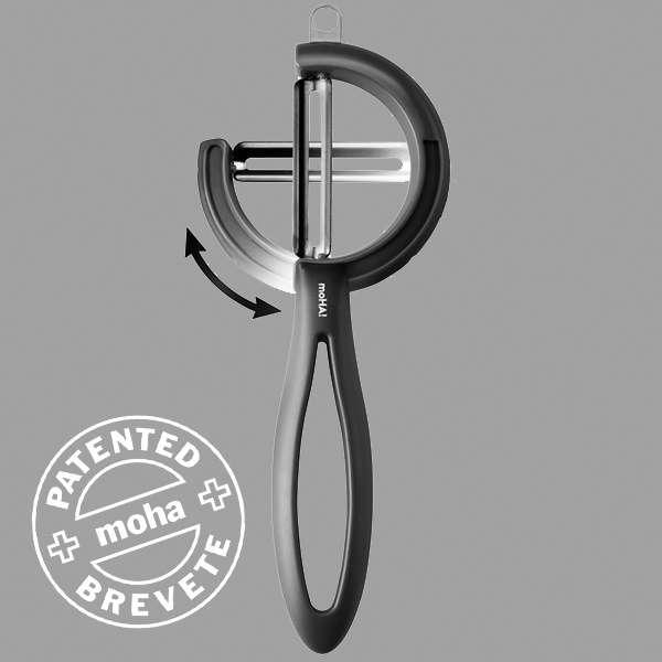 Овощечистка с поворотным лезвием MoHa REVERSO VEGGIE (чёрная), (стальная) MOH-6945618