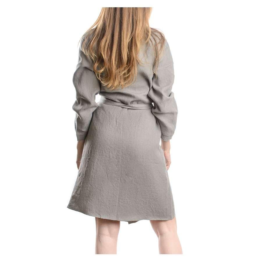 Халат из умягченного льна серого цвета S TKANO TK18-BR0003