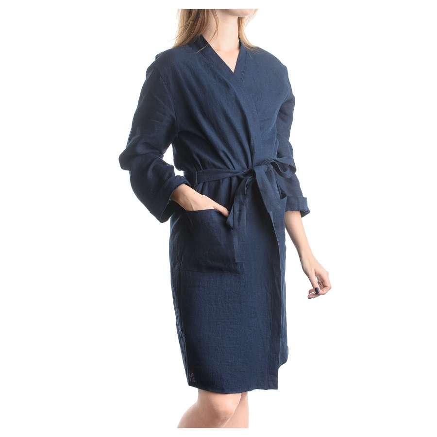 Халат из умягченного льна темно-синего цвета M TKANO TK18-BR0006