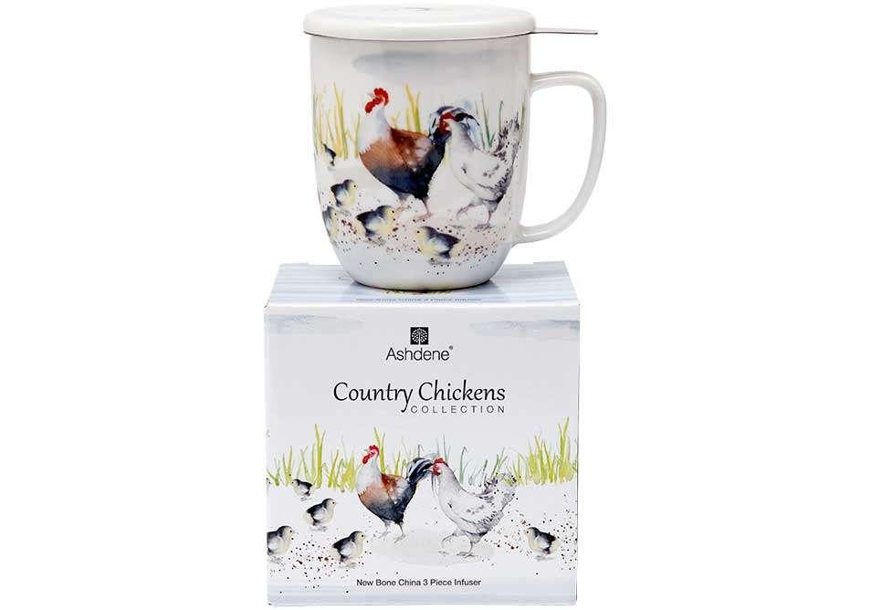 "Кружка с ситечком и подставкой ""Country Chickens"" ASHDENE 517279"