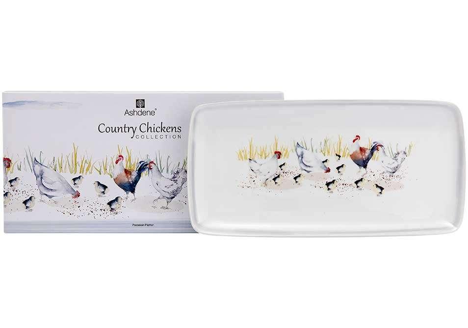 "Прямоугольный поднос ""Country Chickens"" 33,5х16,5 см ASHDENE 517286"